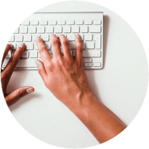 Keyboard and person typing